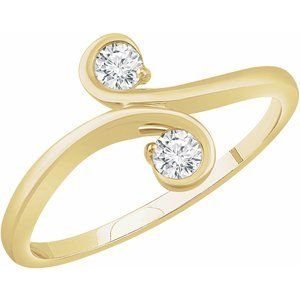 14K Yellow 1/5 CTW Diamond Two-Stone Ring