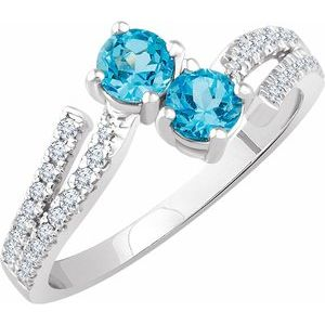 14K White Swiss Blue Topaz & 1/4 CTW Diamond Ring