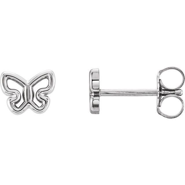 14K White 6.1x4.8 mm Butterfly Earrings