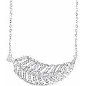 "14K White 3/8 CTW Diamond Leaf 16-18"" Necklace"