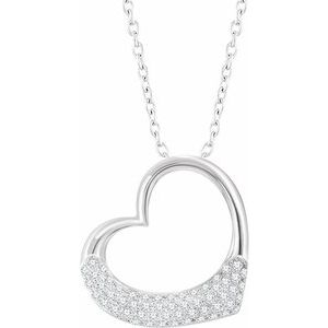 "14K White 1/5 CTW Diamond Heart 16-18"" Necklace"