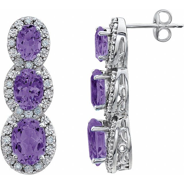 14K White Amethyst & .07 CTW Diamond 3-Stone Earrings