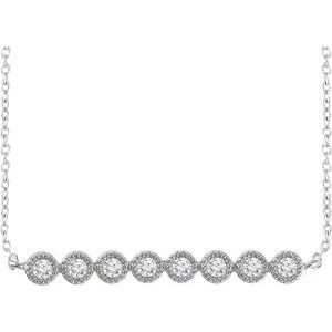 "14K White 1/5 CTW Diamond Bar 16-18"" Necklace"