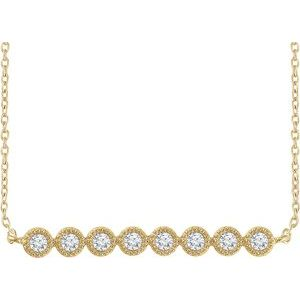 "14K Yellow 1/5 CTW Diamond Bar 16-18"" Necklace"