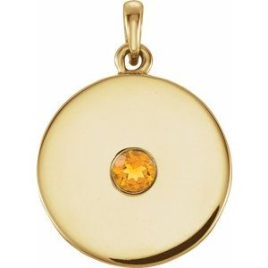 14K Yellow 1/10 CTW Diamond Disc Pendant