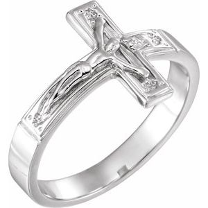 14K White 12 mm Crucifix Chastity Ring Size 7