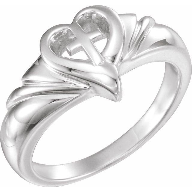 Sterling Silver Heart & Cross Ring