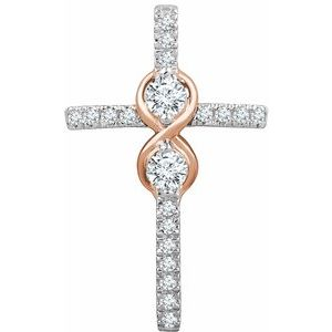 14K White/Rose 1/2 CTW Diamond Cross Pendant