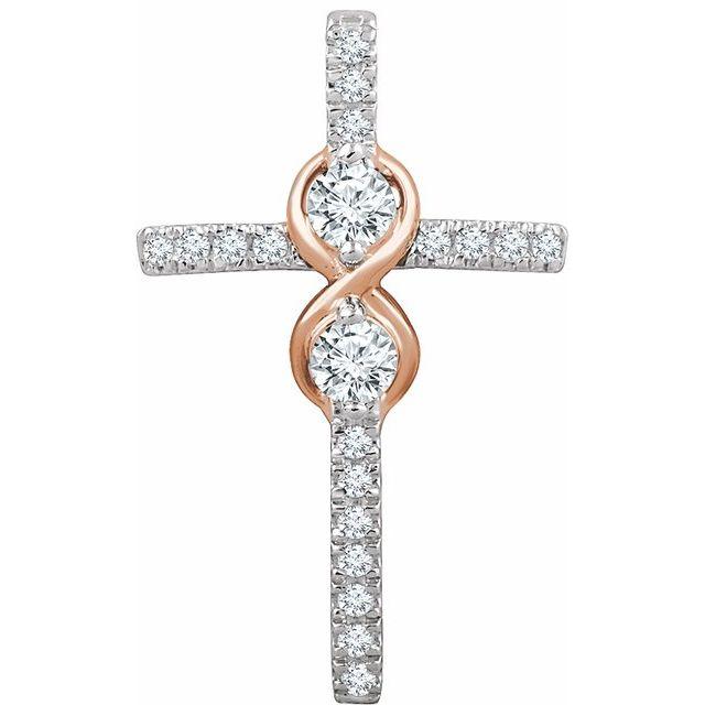 14K White/Rose 1/3 CTW Diamond Cross Pendant