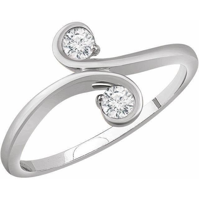 14K White 1/5 CTW Diamond Two-Stone Ring
