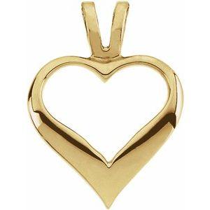 14K Yellow 12 mm Heart Pendant