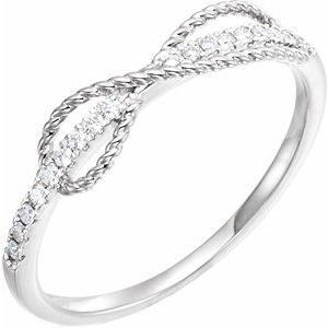 14K White 1/10 CTW Diamond Infinity-Inspired Ring