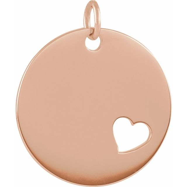 14K Rose Pierced Heart Engravable Disc Pendant