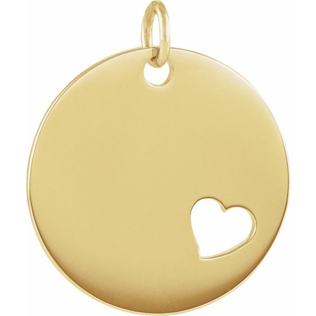 14K Yellow Pierced Heart Engravable Disc Pendant