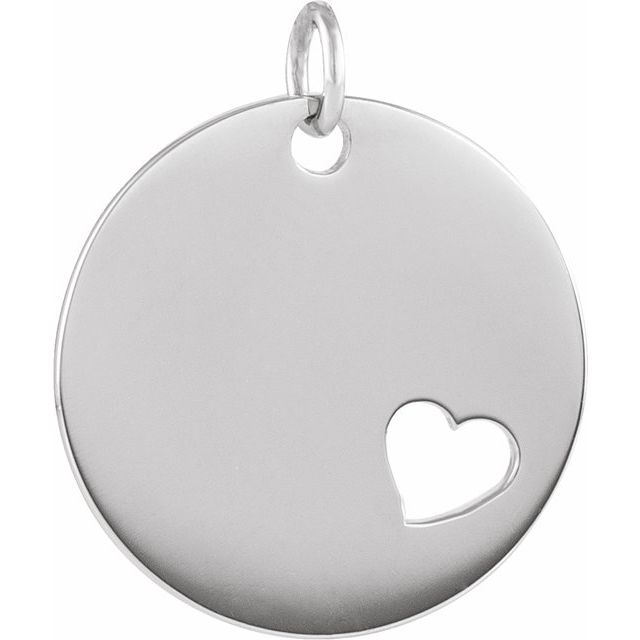 Sterling Silver Pierced Heart Engravable Disc Pendant