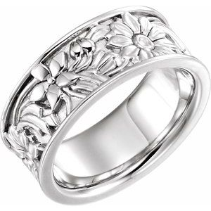14K White 8.5 mm Floral-Inspired Band Size 8