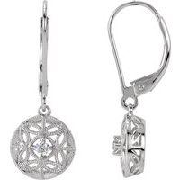 1/10 CTW Diamond Filigree Lever Back Earrings