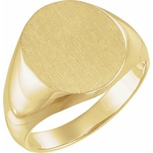 18K Yellow 14x12 mm Oval Signet Ring