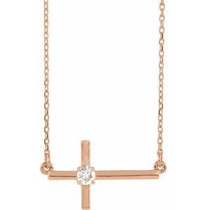 "14K Rose 1/10 CTW Diamond Sideways Cross 16-18"" Necklace"