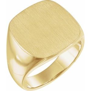 14K Yellow 18x18 mm Square Signet Ring