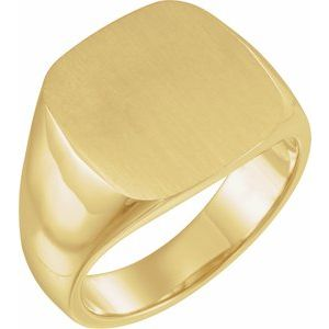 14K Yellow 16x16 mm Square Signet Ring