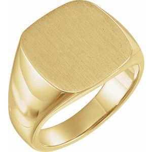 14K Yellow 16 mm Square Signet Ring