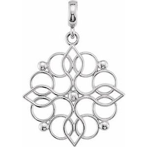 Sterling Silver 27x18.75 mm Floral-Inspired Pendant