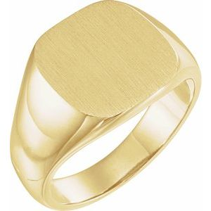 10K Yellow 14 mm Square Signet Ring