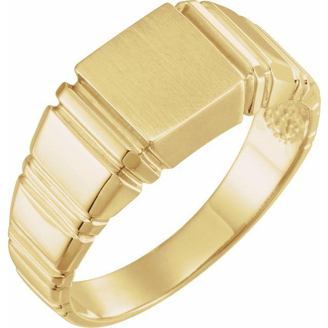 14K Yellow 9 mm Square Signet Ring
