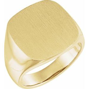 10K Yellow 18 mm Square Signet Ring