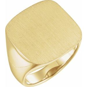 14K Yellow 20 mm Square Signet Ring