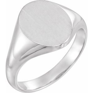 14K White 11x9.5 mm Oval Signet Ring