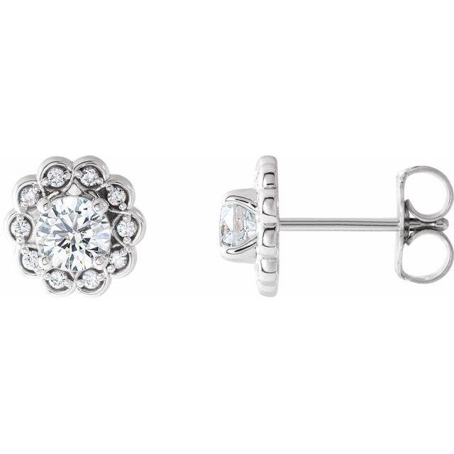 14K White 5/8 CTW Diamond Halo-Style Earrings