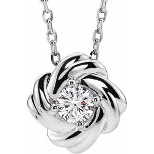 "14K White 1/6 CTW Diamond Knot 16-18"" Necklace"