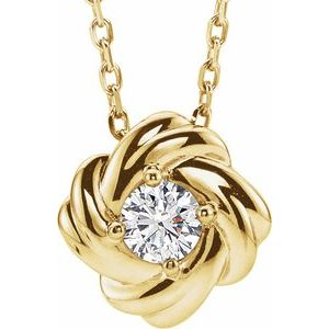 "14K Yellow 1/6 CTW Diamond Knot 16-18"" Necklace"