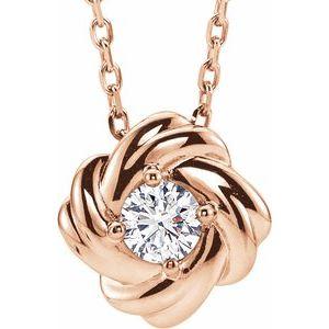 "14K Rose 1/6 CTW Diamond Knot 16-18"" Necklace"