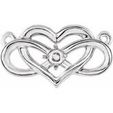 Accented Infinity-Inspired Heart Necklace or Center