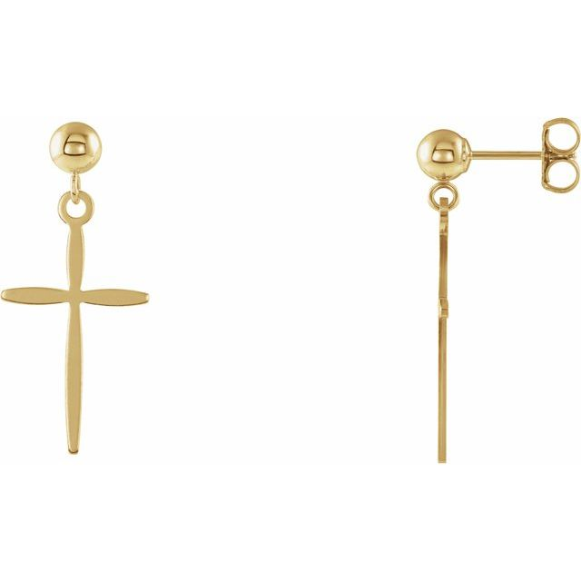 14K Yellow 17x11 mm Cross Earrings