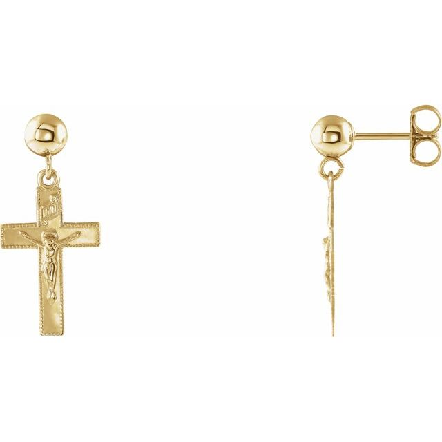 14K Yellow 20x9 mm Crucifix Ball Dangle Earrings
