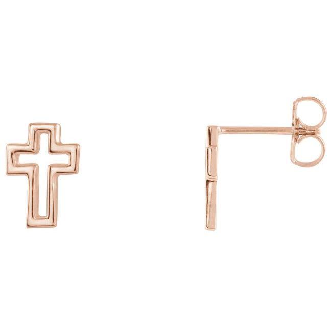 14K Rose Open Cross Earrings