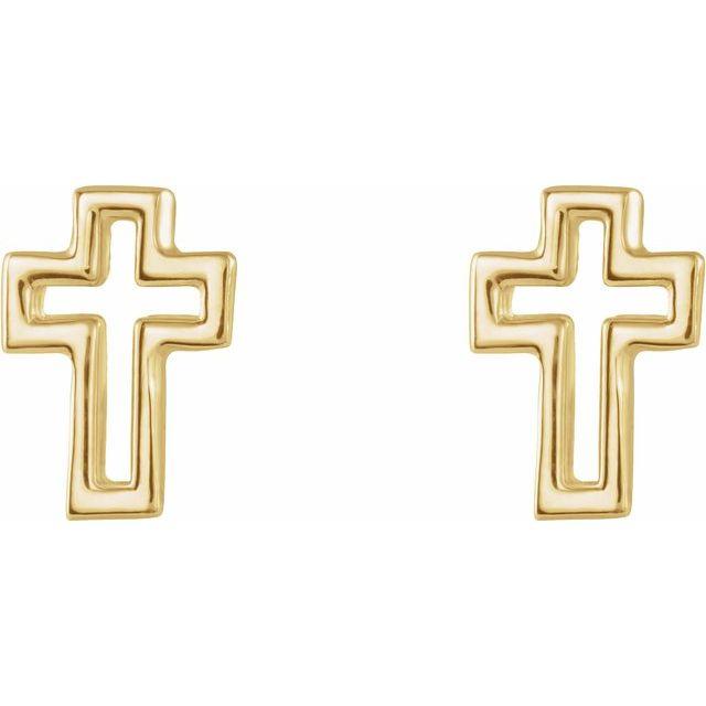 14K Yellow Open Cross Earrings