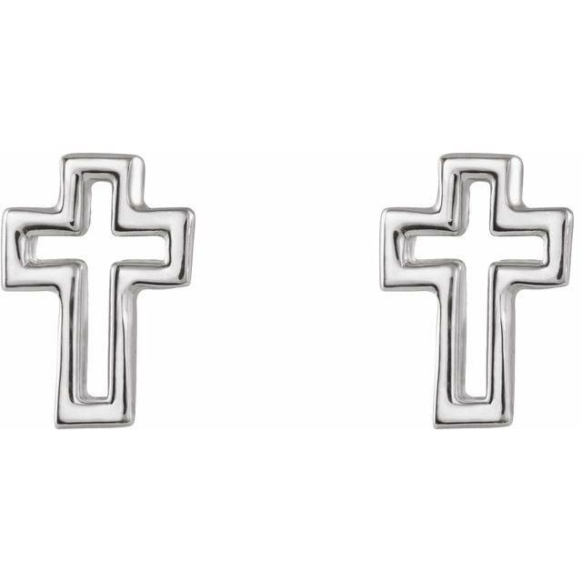 Sterling Silver Open Cross Earrings