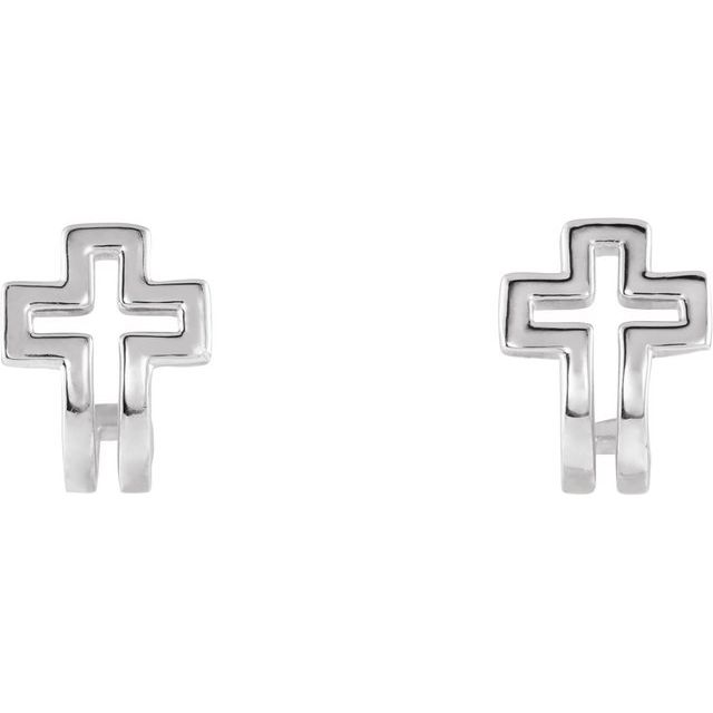 Sterling Silver Open Cross J-Hoop Earrings
