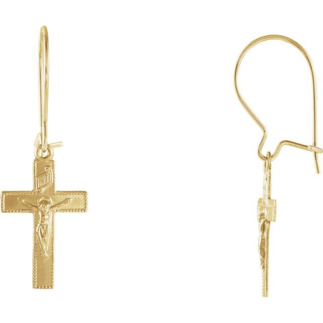 14K Yellow 25x9 mm Crucifix Earrings