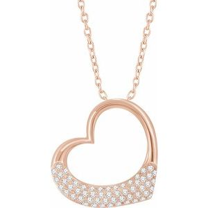 "14K Rose 1/5 CTW Diamond Heart 16-18"" Necklace"