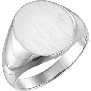 14K White 16x14 mm Oval Signet Ring