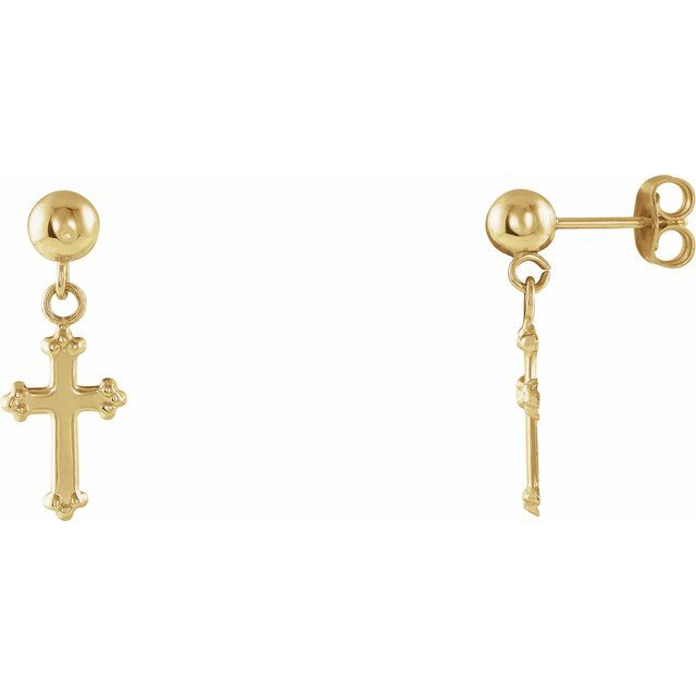 14K Yellow 11x8 mm Cross Ball Earrings