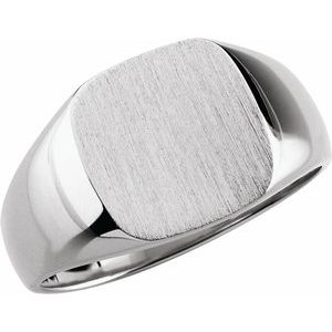 14K White 12x12 mm Square Signet Ring