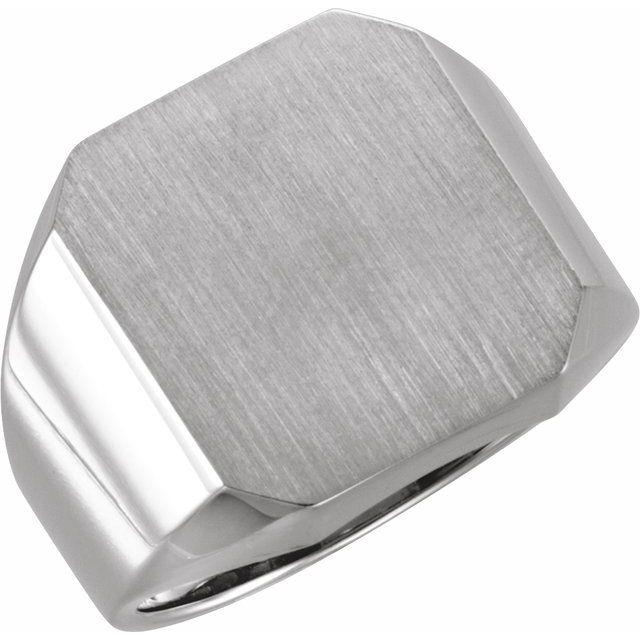 14K White 18x16 mm Octagon Signet Ring