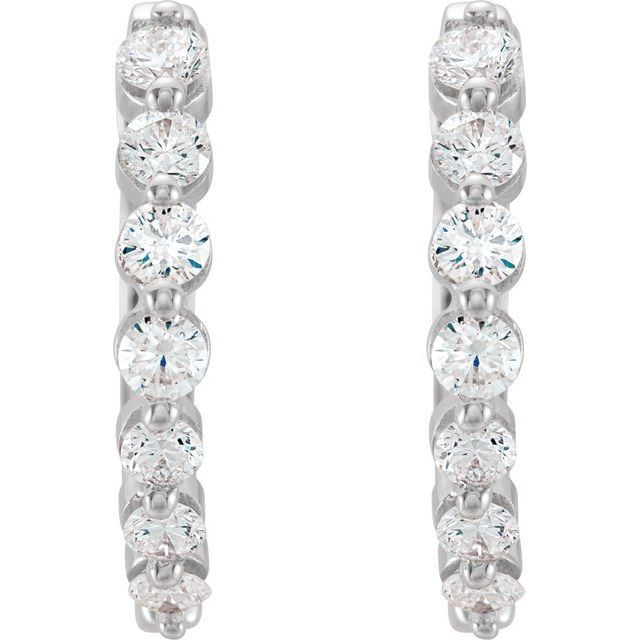 14K White 1/2 CTW Diamond 15.25 mm Hoop Earrings